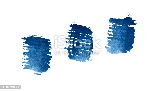 467414017 istock photo Abstract blue watercolor background. Colorful aquarelle paint texture. Brush stroke isolated on white . Vivid ink stain pattern. Paint splash. 1182550908