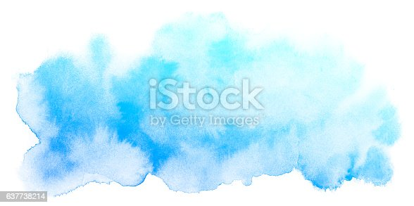 istock Abstract blue watercolor background. 637738214