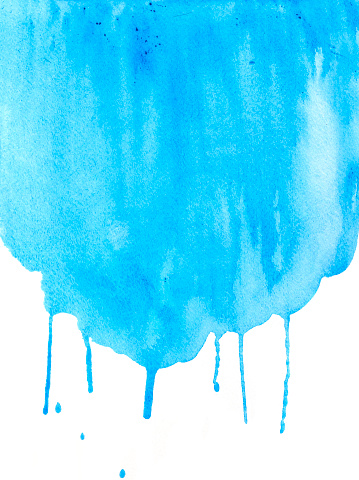 Blue watercolor background on white watercolor paper