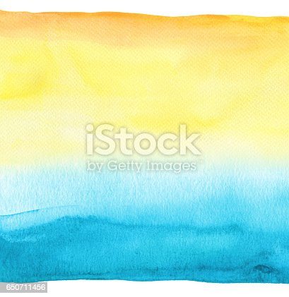 istock Abstract blue watercolor hand painted background. Textured paper. 650711456