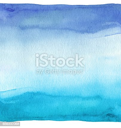 istock Abstract blue watercolor hand painted background. Textured paper. 656332068