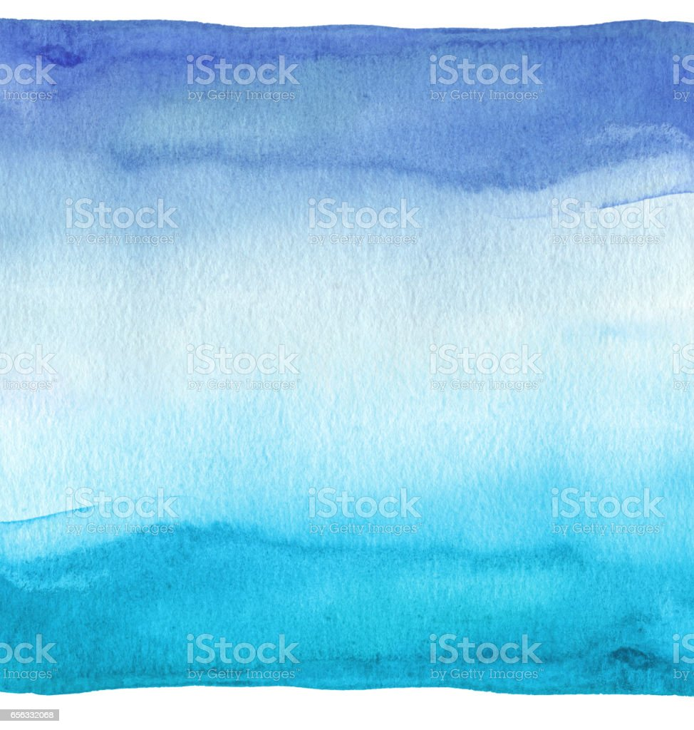 Abstract blue watercolor hand painted background. Textured paper. stock photo