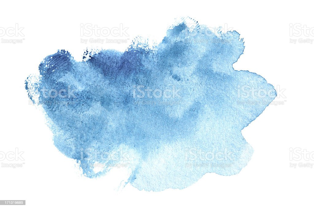 Abstract blue watercolor painted background stock photo