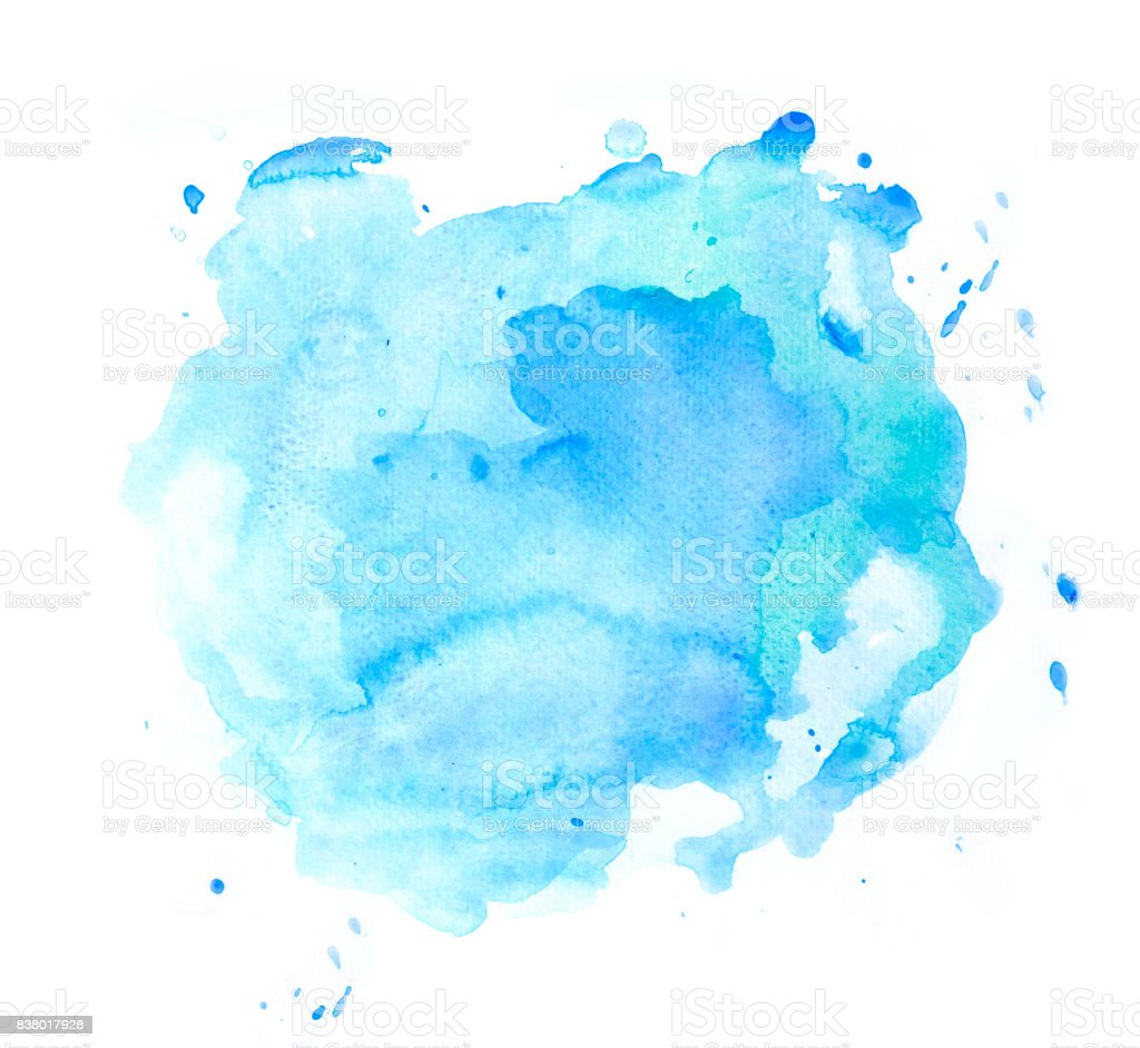 Abstract blue watercolor spot on white background stock photo