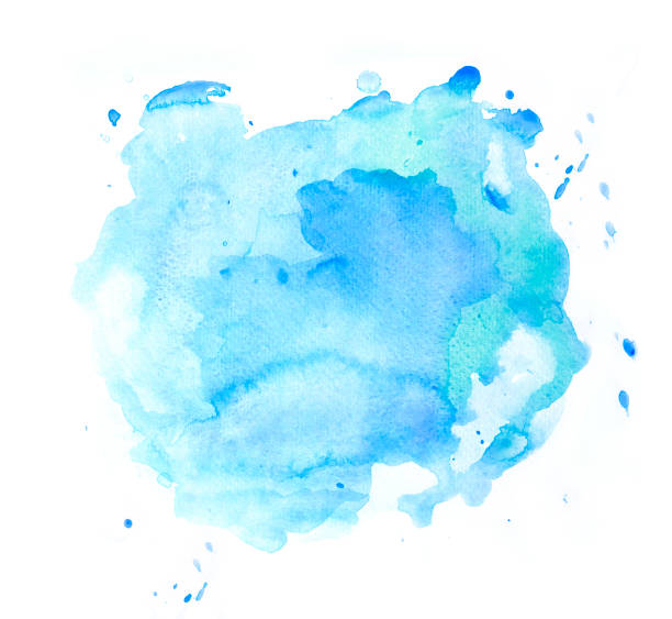 Abstract blue watercolor spot on white background - foto stock