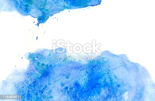 istock Abstract blue watercolor spot - sea and sky - on white background 1164826211
