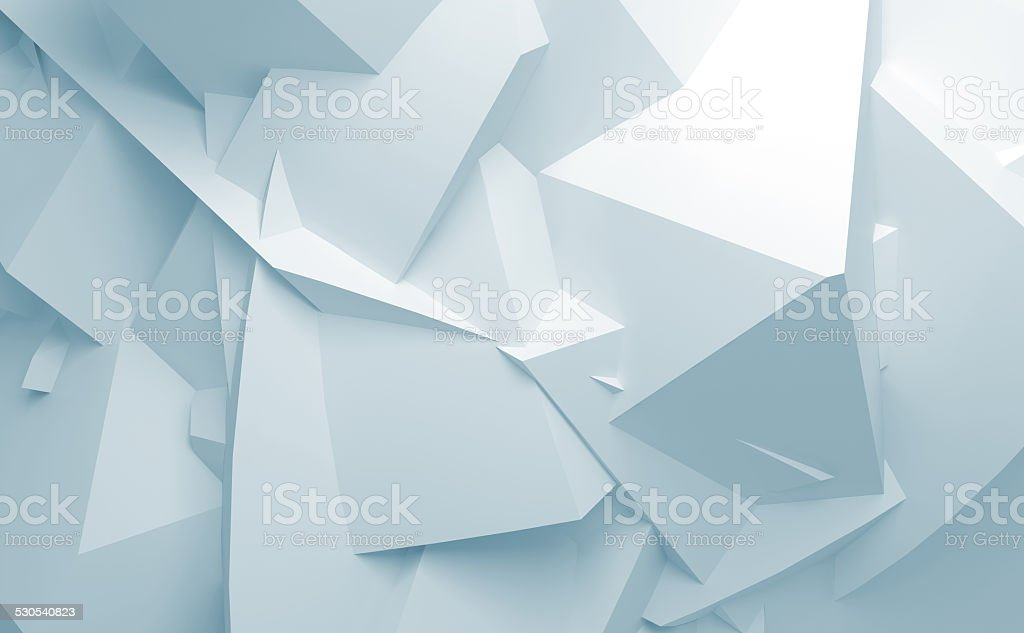 Abstract blue white 3d chaotic polygonal surface background stock photo
