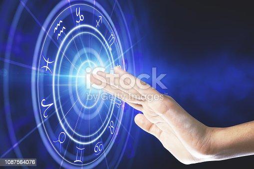 istock Abstract blue zodiac wheel background 1087564076