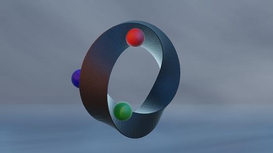 Abstract blueish Twisted Torus Shape Mobius Strip three  RGB balls rotation spinning