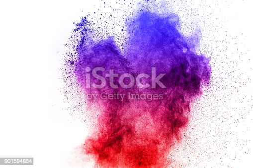 905594434 istock photo abstract blue-red dust explosion on  white background. abstract blue-red powder splattered on white  background, Freeze motion of blue-red powder exploding. 901594684