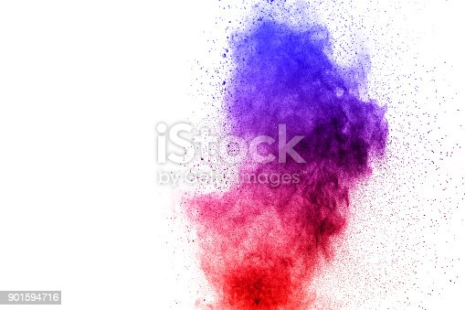 918139336 istock photo abstract blue-red dust explosion on  white background. abstract blue-red powder splattered on white  background, Freeze motion of blue-red powder exploding. 901594716