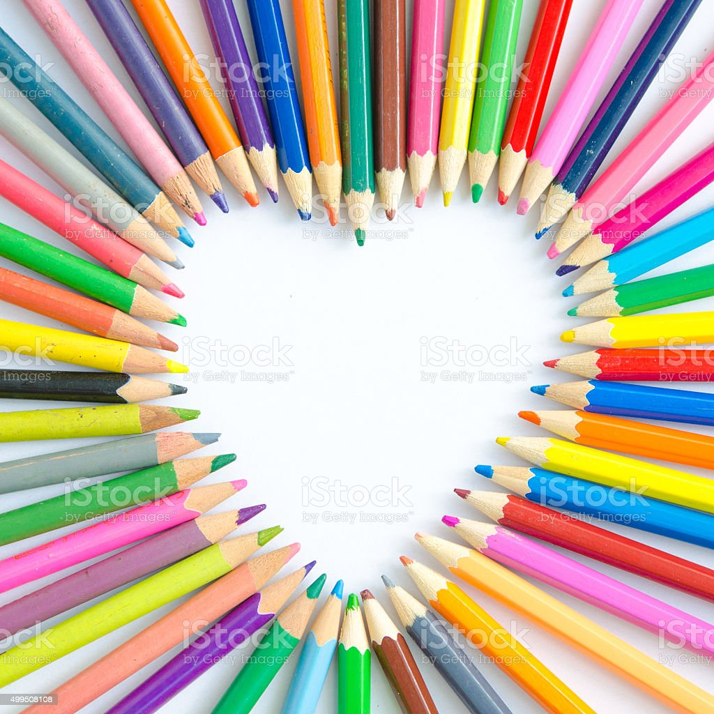 Abstract blur background. Crayon heart stock photo