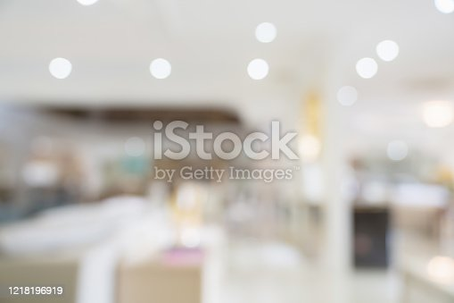 831812130 istock photo abstract blur background image of supermarket in shopping mall 1218196919