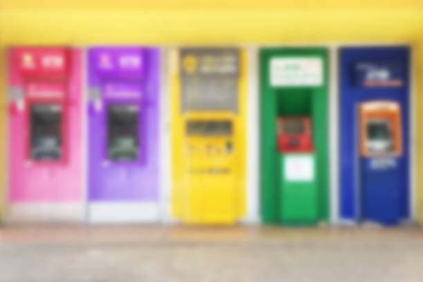 abstract blur background of atms machine for withdrawing or deposit cash money - depositor stock pictures, royalty-free photos & images