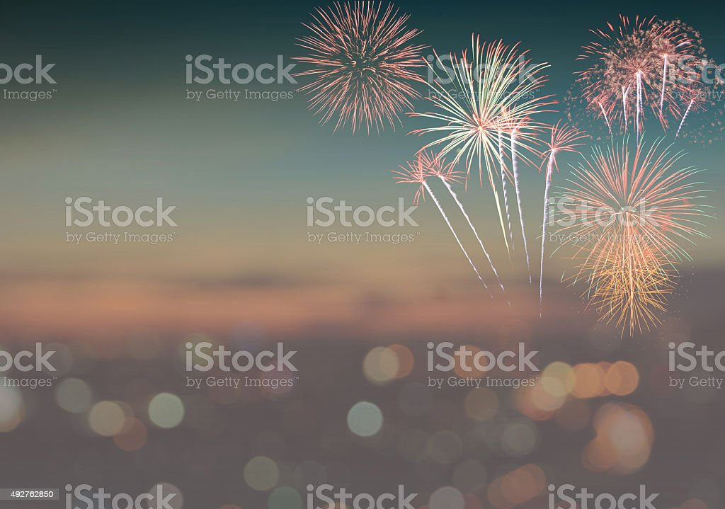 Abstract blur background with fireworks stock photo