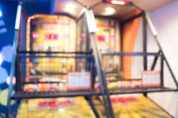 Abstract blur basketball game conner in game center as background stock photo