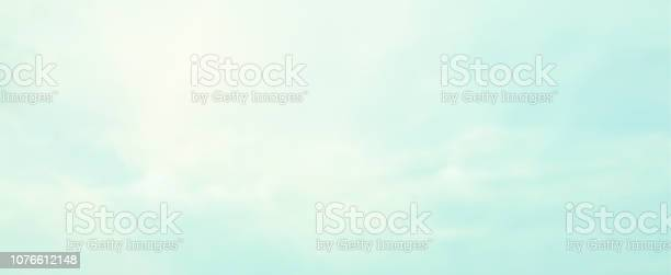 Photo of abstract blur beauty morning sunrise skyline and cloud scene with vintage color in panoramic background design as banner, ads and presentation concept