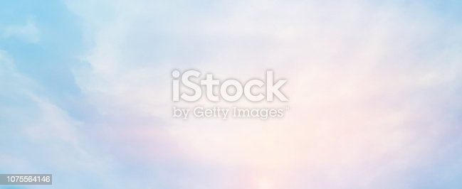 850558406 istock photo abstract blur beauty sunrise skyline scene with pastel color in panoramic background design as banner, ads and presentation concept 1075564146