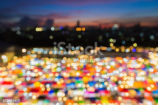 1154996700istockphoto Abstract blur bokeh twilight of aerial free market at night 478554412