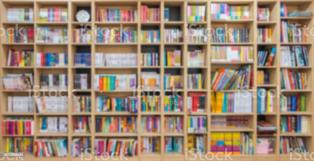 Abstract blur bookshelves in a library stock photo