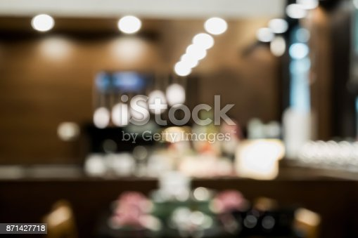 862429776 istock photo Abstract blur coffee shop or cafe restaurant interior 871427718