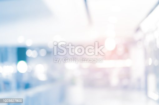 abstract blur contemporary office interior blue background concept
