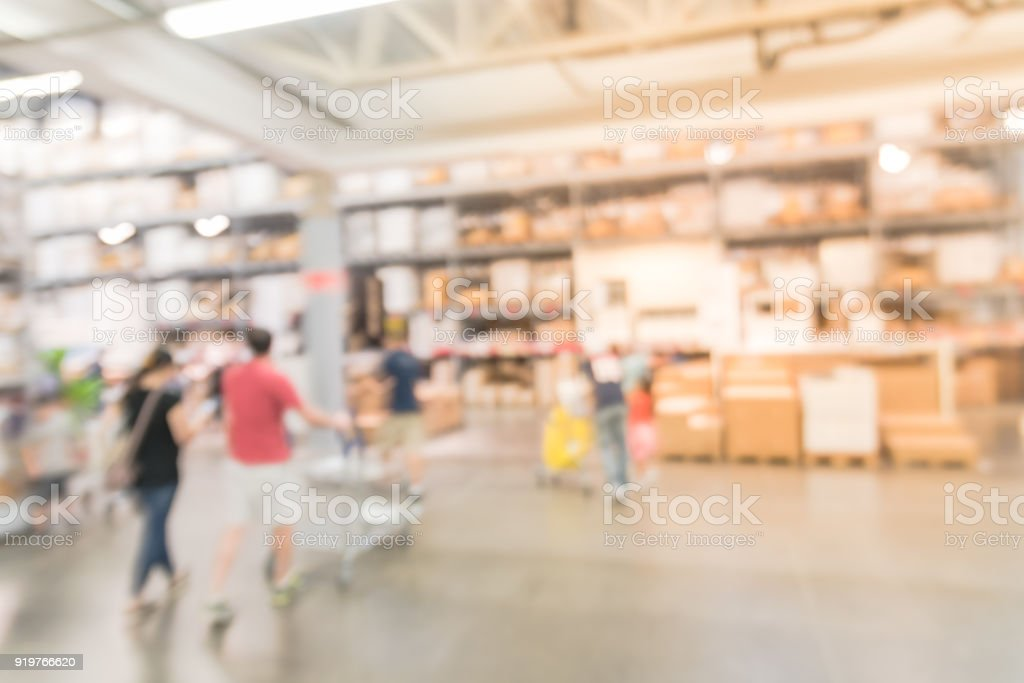 Abstract Blur Customer Shopping At Furniture Warehouse In USA Royalty Free  Stock Photo