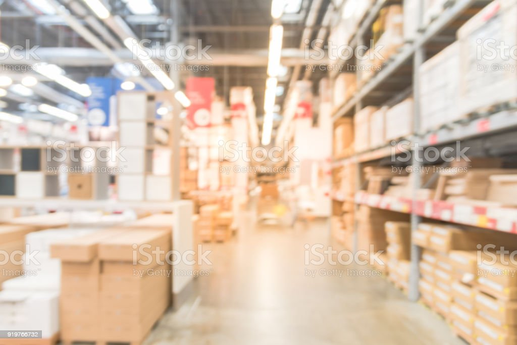 Abstract Blur Customer Shopping At Furniture Warehouse In Usa Stock