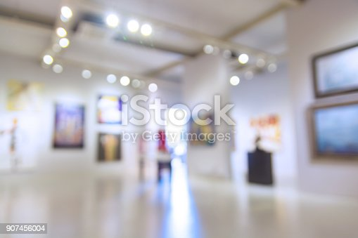 Abstract Blur Defocus Background of Art Gallery Museum or Showroom exhibit Picture or Painting with Light Bokeh as Modern Urban Lifestyle