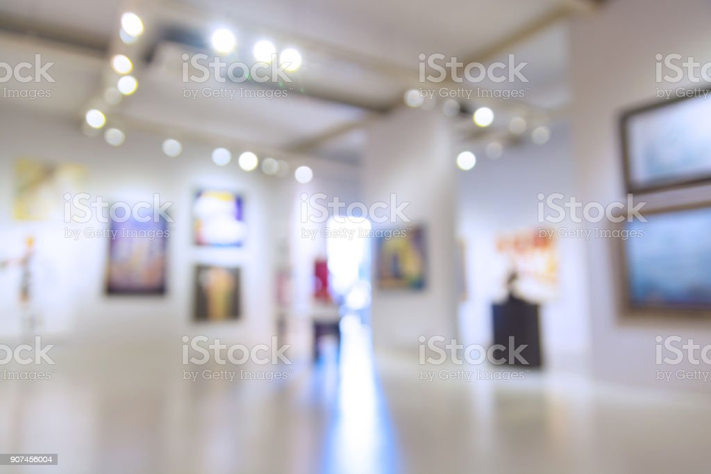 Abstract Blur Defocus Background of Art Gallery Museum or Showroom stock photo