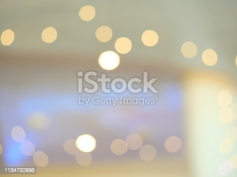 istock Abstract blur exposure of white silver color background with bokeh light 1134732695