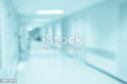 istock Abstract blur hospital corridor defocused Medical background 836113026
