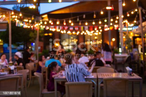 abstract blur image of night festival in a restaurant and The atmosphere is happy and relaxing with bokeh for background