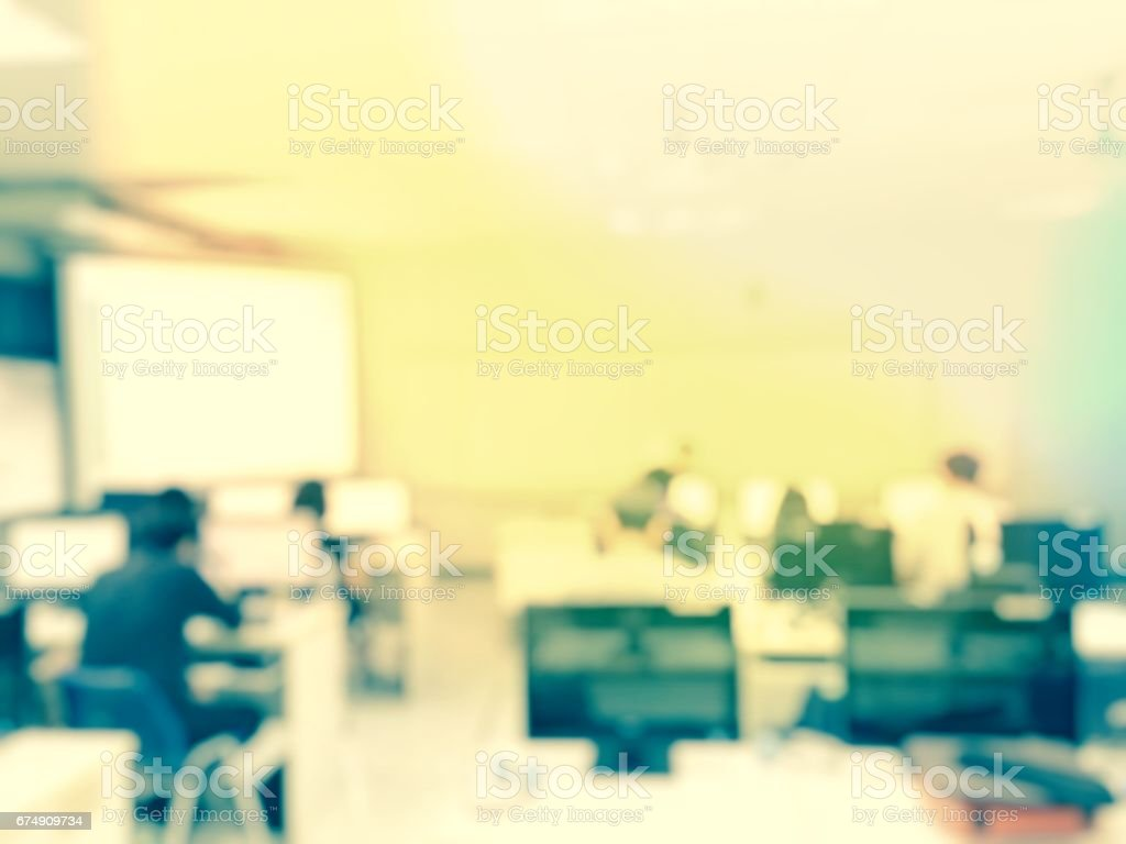 Abstract blur image of students lecture in computer lab, stock photo
