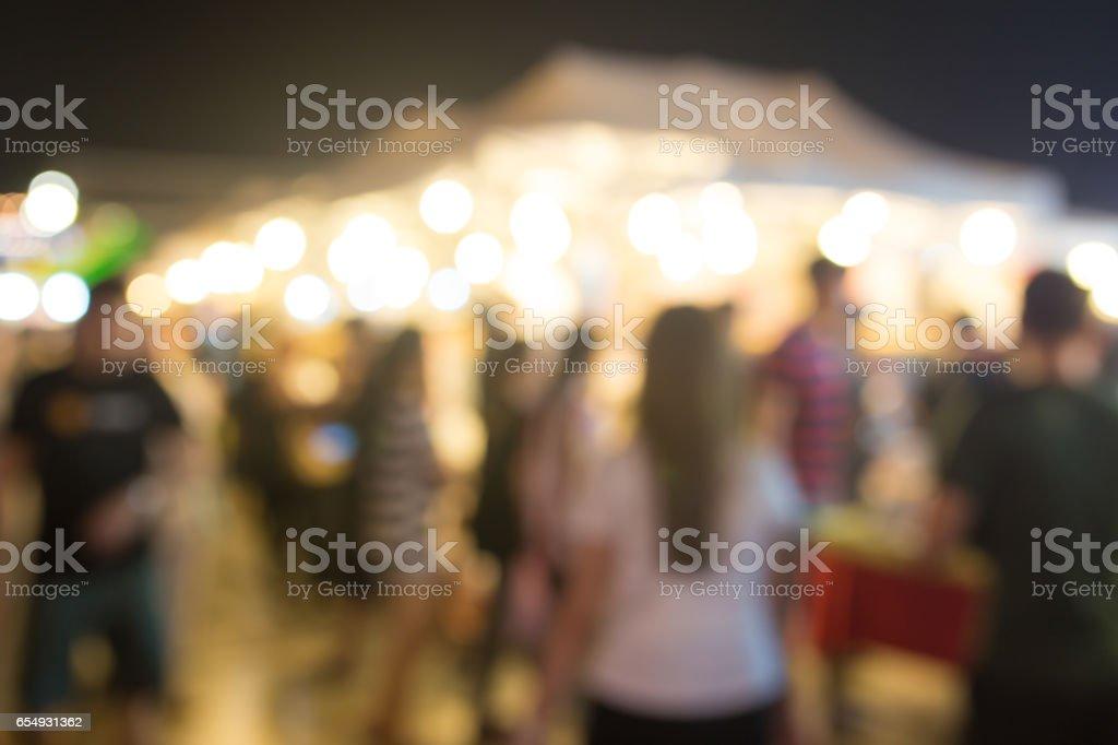Abstract blur image of train night market in bangkok, Thailand stock photo