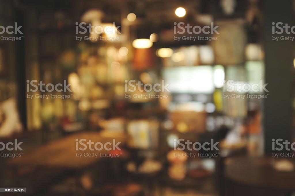 abstract Blur Interior of Vintage restaurant and cafe. Vintage design...