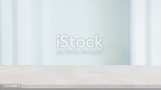 abstract blur interior office workplace white background with concrete table for show, promote product and content on display concept