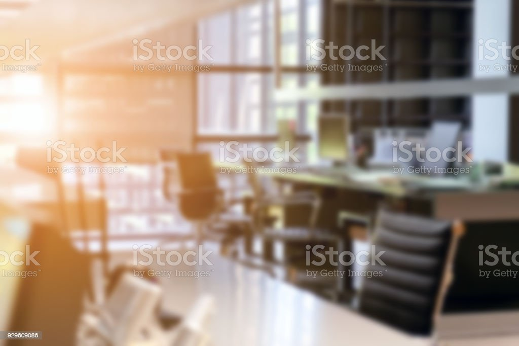 Abstract blur modern office interior stock photo