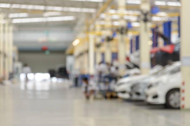 Abstrakte Unschärfe der Auto-Reparatur-Service in der Garage. Verwendung für Hintergrund – Foto