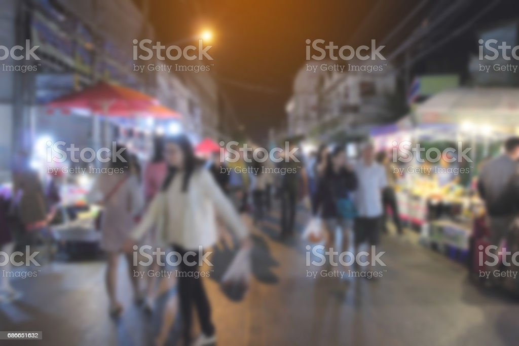 Abstract blur of market walking street at night. royalty-free stock photo