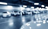 Abstract blur of parking garage.