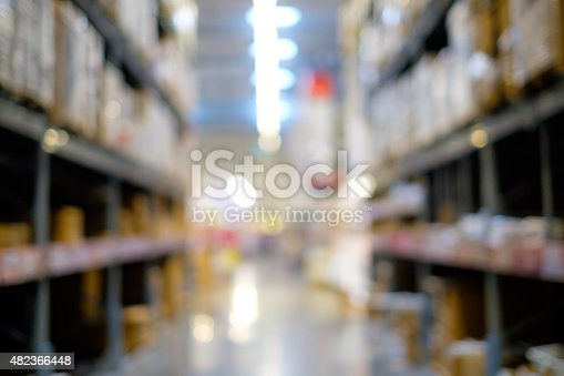 istock Abstract blur of warehouse with lot of stack of box 482366448