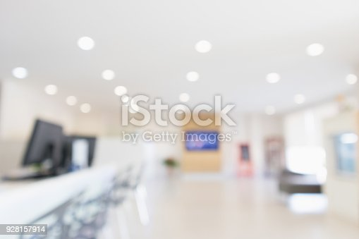istock Abstract blur office desk workplace or hospital with computer defocused background 928157914