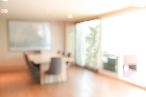 Abstract Blur Office Meeting Room For Background Or Backdrop