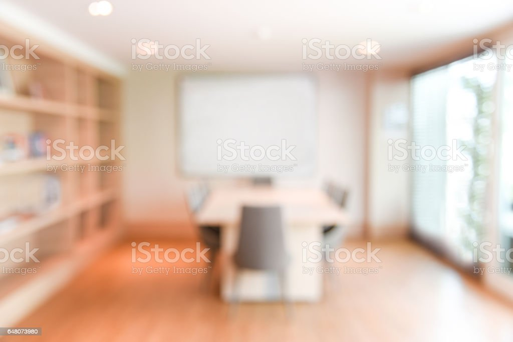 abstract blur office meeting room interior for background stock photo