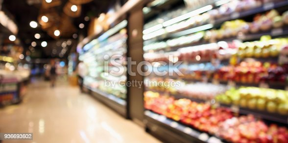 abstract blur organic fresh fruits and vegetable on grocery shelves in supermarket store defocused bokeh light background