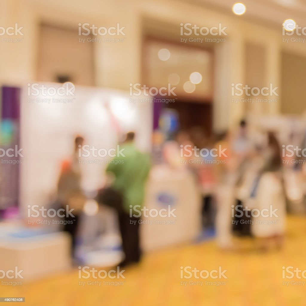 Abstract blur people in press conference event room, business co stock photo