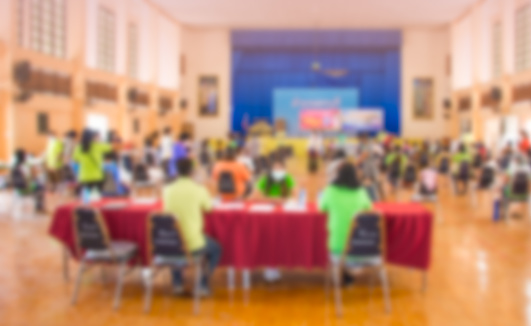 Abstract blur people lecture in seminar room, education or training concept