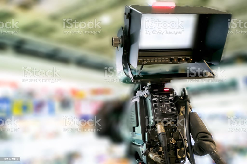 Abstract blur professional camera in live television. stock photo