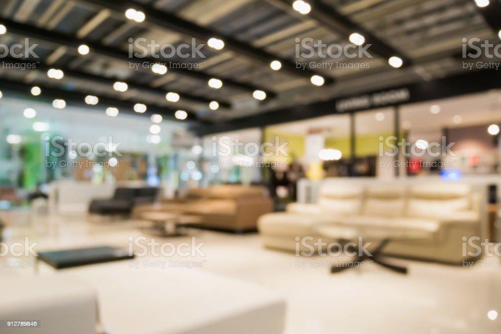 abstract zu verwischen sofa mobel showroom store interieur mit hellen hintergrund bokeh fur montage produktdarstellung lizenzfreies